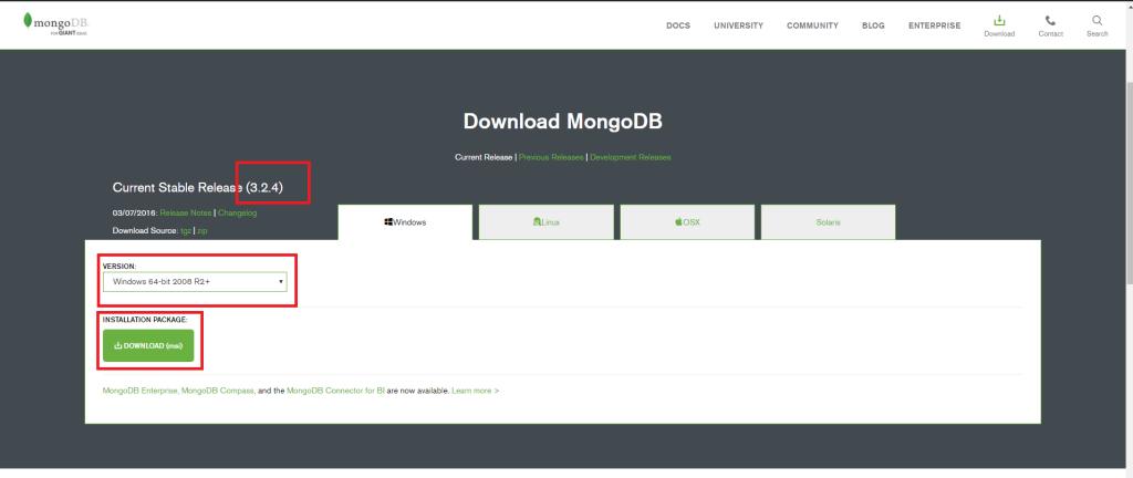 MongoDB indirme ekranı